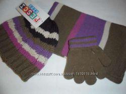 Шапка  шарф  перчатки Ажурная косичка для девочки