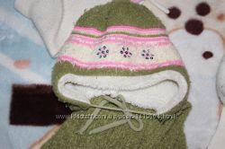 Шапка с шарфом на девочку Зима