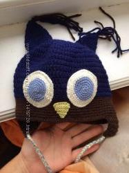 Вязанная детская шапочка Сова