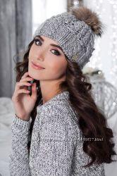 Женская вязаная шапка с меховым помпоном. разные цвета Опт и розница