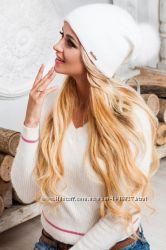 Модная и теплая шапка с помпоном. Опт и розница. Разные цвета