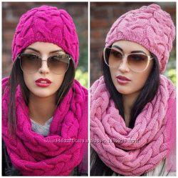 Комплект шапка и шарф-хомут. Разные цвета.