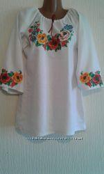 Белая льняная женская вышиванка с маками Дамский каприз-1