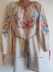 Женская льняная вышиванка с алыми маками