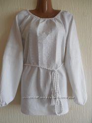 ЛЬняная вышиванка с белоснежной вышивкой