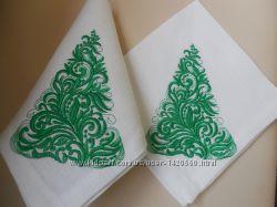 Набор льняных салфеток с новогодней вышивкой 6 шт.
