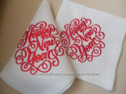 Набор льняных салфеток с новогодней вышивкой Happy new year 6шт.