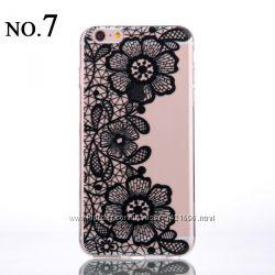 Чехол с узорами силиконовый на iphone 4, 4s, 5, 5s, 5с, 6, 6s, 6plus