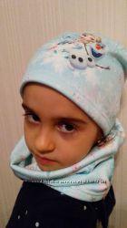 Шапка и шарф-труба флис снуд Frozen  H&M Эльза Холодное сердце, 110-128 см