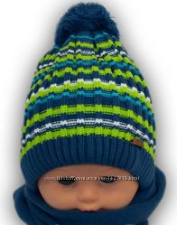 Вязаный комплект шапка шарф для мальчика ТМ Grans Польша