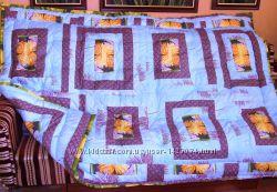 Одеяло теплое ручной работы в стиле пэчворк 150х205 см