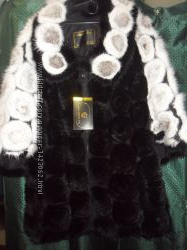 Шикарное манто из вязаной норки до 56р-ра