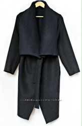 Дизайнерское шерстяное пальто на запах
