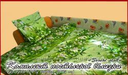 Постельное белье, полуторный комплект, Зеленые лилии, бязь