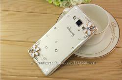 Прозрачный чехол бампер с стразами и цветами для Samsung A7