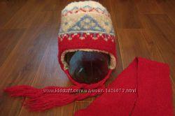 Шапка на овчине  шарф