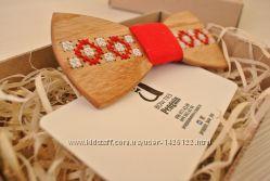Деревянные галстук-бабочки в этно-дизайне. ETHNO