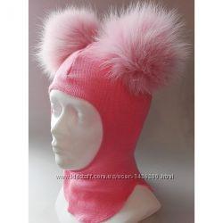 Зимний шлем для девочки с меховыми помпонами тм be easy