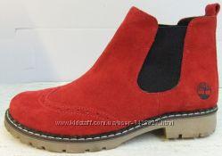 осенние женские ботинки Timberland замш Тимберленд нубук кожа мех флис т24
