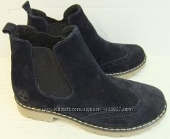 Зимние женские ботинки Timberland стиль натуральная кожа замша мех шерсть