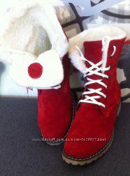 Супер зимние стильные женские сапоги ботинки Timberland теплые нубук кожа