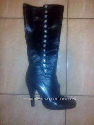 Шкіряні чоботи демі 35р. кожаные сапоги деми 35р.