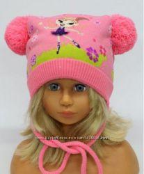 Зимняя шапка для девочки 46-50. В наличии