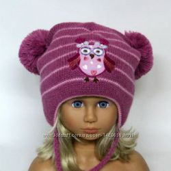 Зимняя шапка для девочки Сова 48-52. В наличии