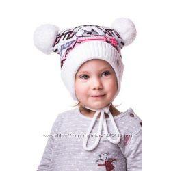 Зимняя шапка для девочки 46-52. В наличии