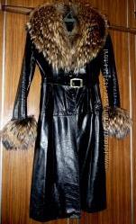 Кожаная дубленка, пальто Енот