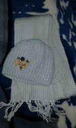 шапка с шарфом зимние для девочки