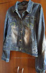 джинсовая куртка  джинсовка женская, джинсовый пиджак L-XL