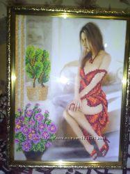 красивая картина вышита бисером , можно вышивку делать на заказ
