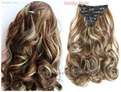 Волосы трессы на заколках ТЕРМО 7 прядей 6н613 волна