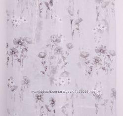Прозрачная тюль на органзе с серыми маками