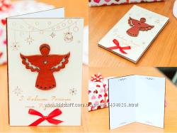 Поздравительная открытка из дерева - Ангел с крыльями
