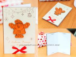 Поздравительная открытка из дерева - Дед Мороз