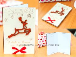 Поздравительная открытка из дерева - Летящий Олень
