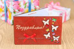 Деревянная открытка Поздравляю - Бабочки махагон