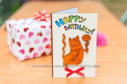 Открытка Happy Birthday - Кот - белый