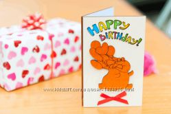 Открытка Happy Birthday - Слон - белый