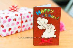 Открытка Happy Birthday - Слон - махагон
