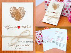 Свадебное приглашение из дерева - Отпечатки