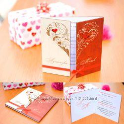 Свадебное приглашение из дерева двухстворчатое Сердце-Двухцветное