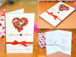Свадебное приглашение из дерева Сердце-Вертикальная