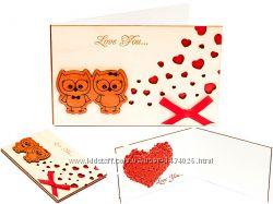 Деревянная открытка валентинка LOVE СовятаСердца белая