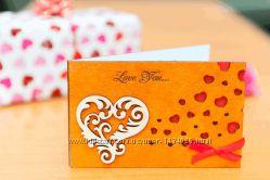 Деревянная открытка валентинка LOVE - Сердца Завитушки - махагон