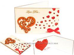 Деревянная открытка валентинка LOVE Сердца Завитушки - белая