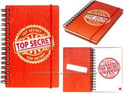 Деревянный блокнот - TOP SECRET - махагон