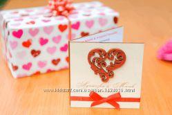 Свадебное приглашение из дерева Сердце